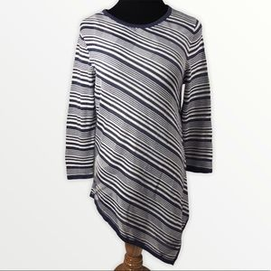 89th & Madison Blue White Striped Tunic Sweater Size Med
